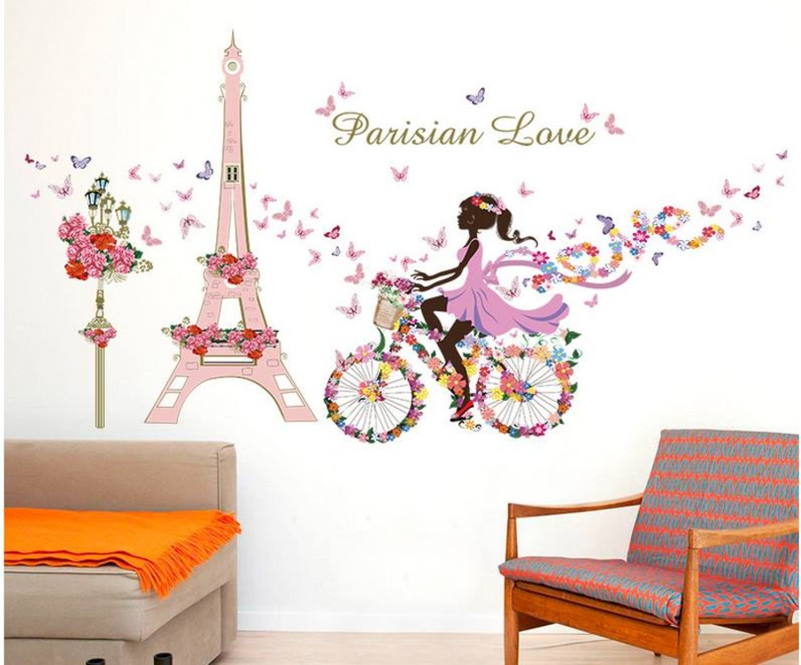 Decal dán tường cô gái và xe đạp hoa