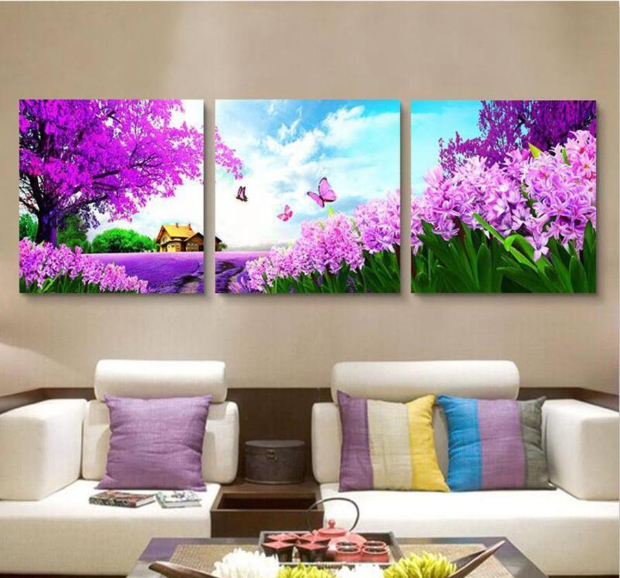 Tranh treo tường vườn hoa tím