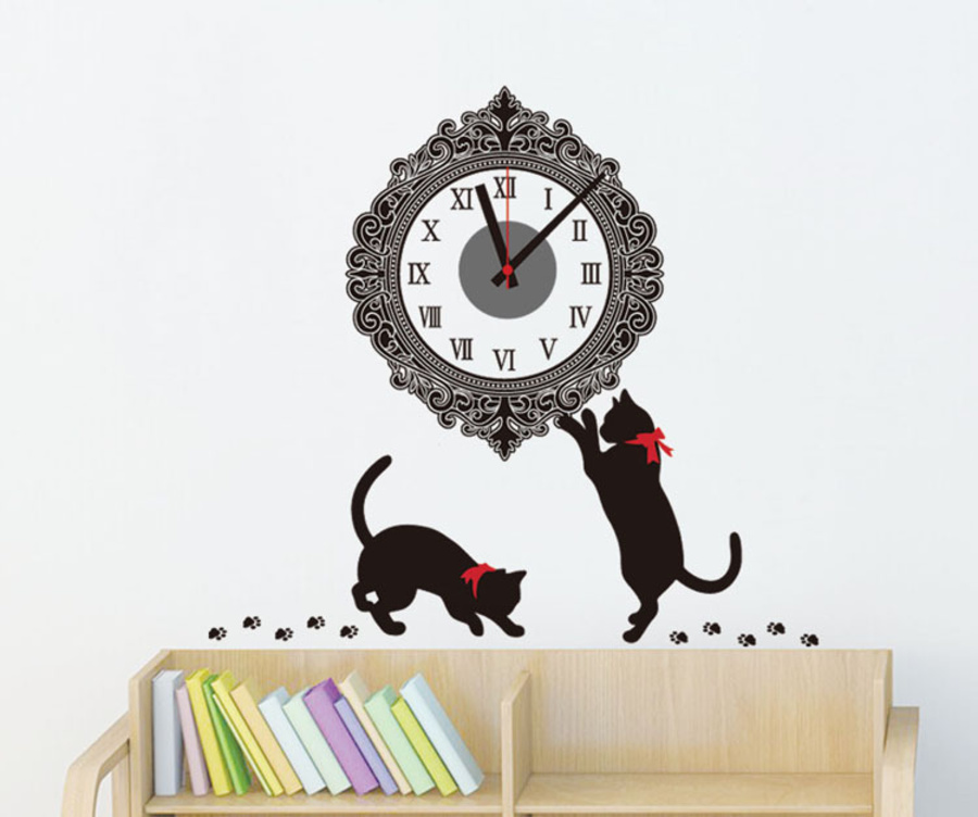 Đồng hồ đôi mèo đen