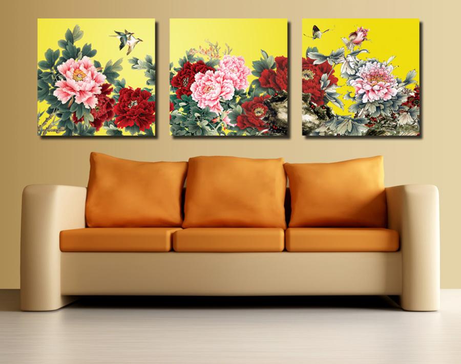 Tranh treo tường vườn hoa mẫu đơn 7