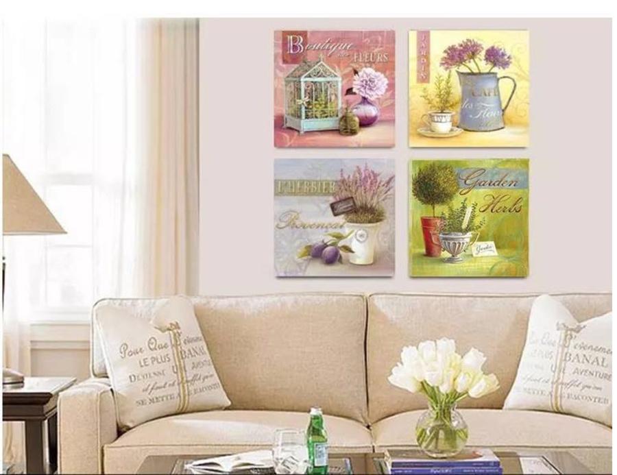 Tranh treo tường bình hoa cổ điển 2 size 30x30x4cm