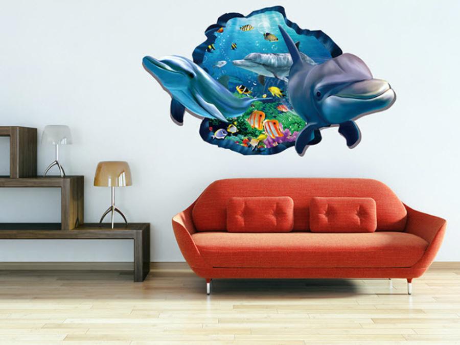 Decal dán tường cá heo tạo cảm giác 3D