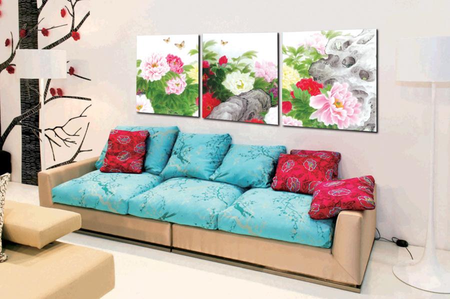 Tranh treo tường vườn hoa mẫu đơn
