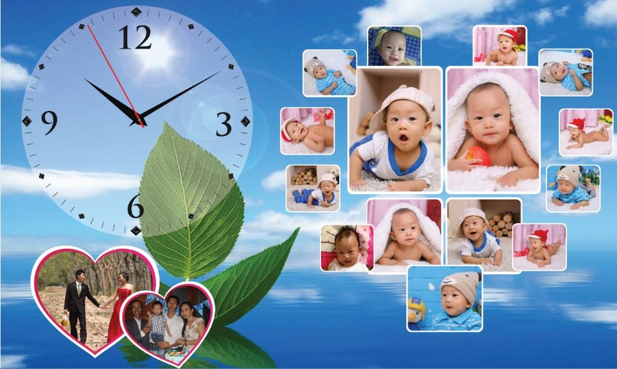 Tranh đồng hồ gia đình treo tường size 25x40