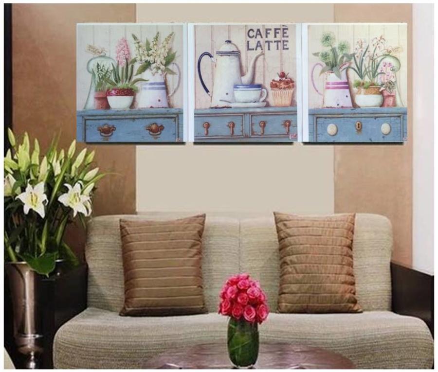 Tranh treo tường ấm trà và bình hoa (CH)
