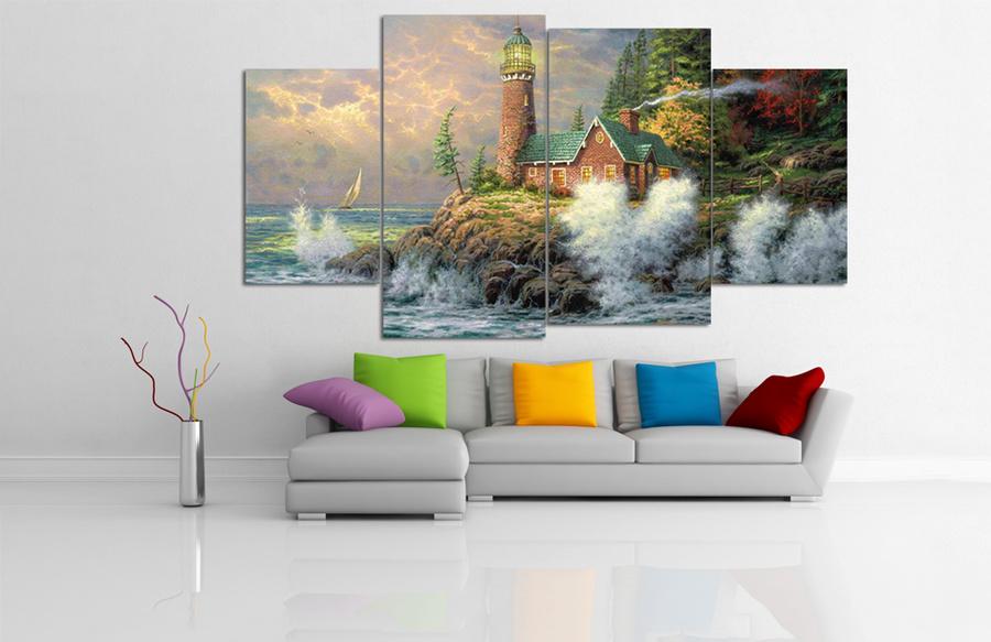 Tranh treo tường nghe thuật phong cảnh biển và ngọn hải đăng