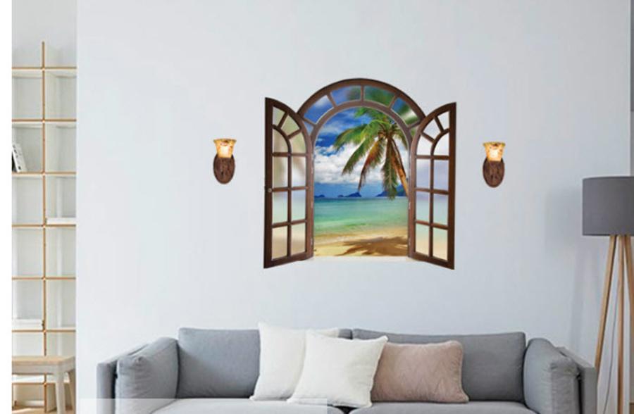 Decal dán tường cửa sổ cổ điển cây dừa
