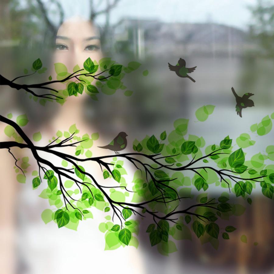 Decal dán kính cành cây xanh