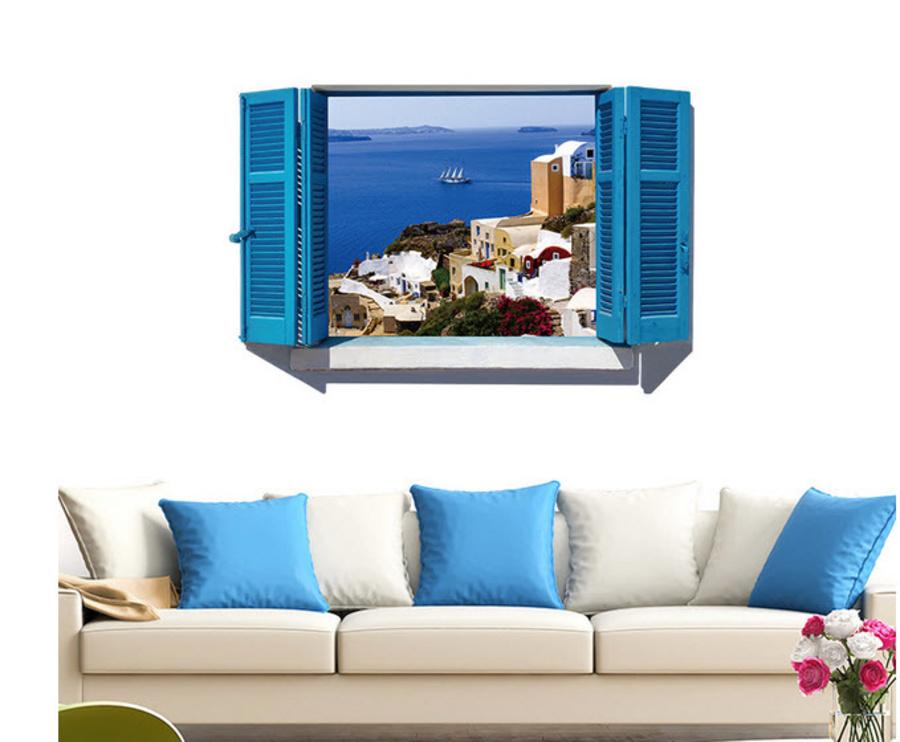 Decal dán tường cửa sổ thành phố biển 3