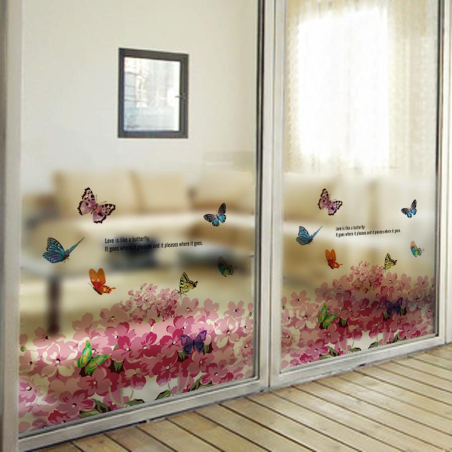 Decal dán kính hoa cánh hồng và bướm