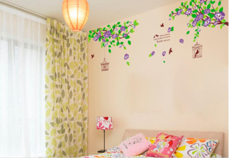 Decal dán tường hoa tầm xuân tím