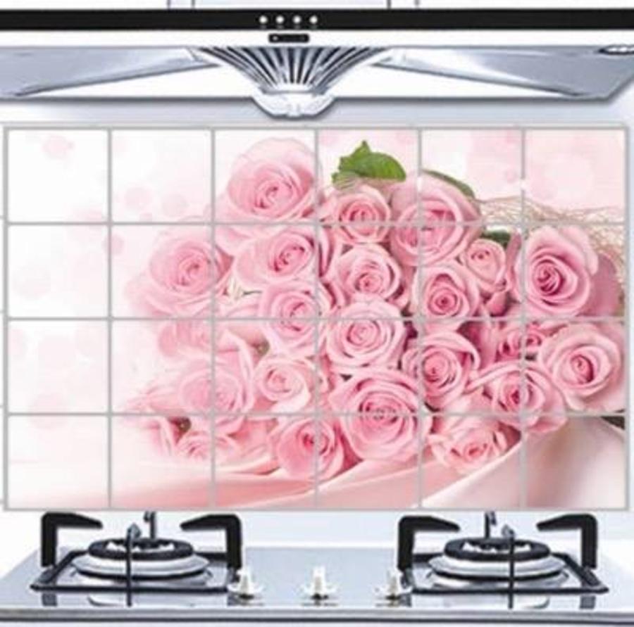 Dán bếp bó hoa hồng size 60x90cm