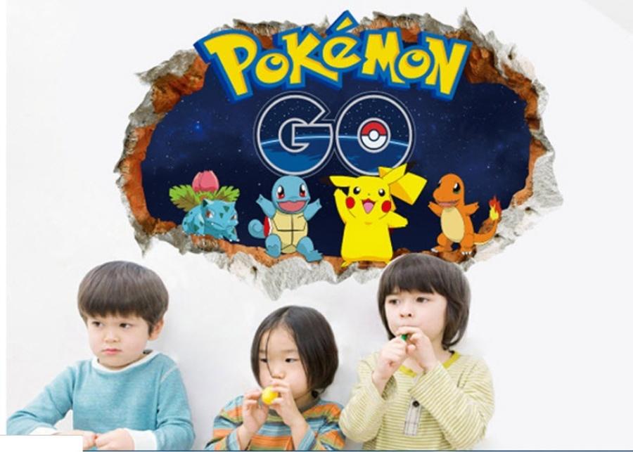 Decal 3D dán tường Pokemon Go