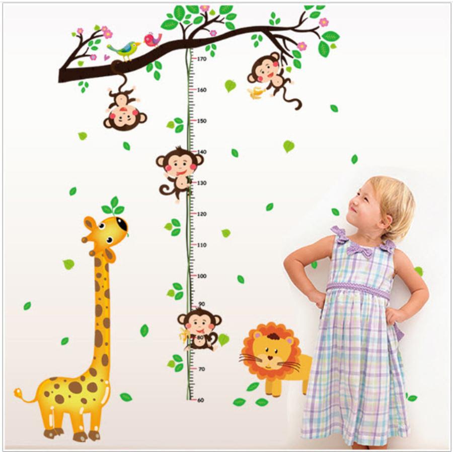 Decal dán tường thước đo hươu vàng và khỉ đu dây