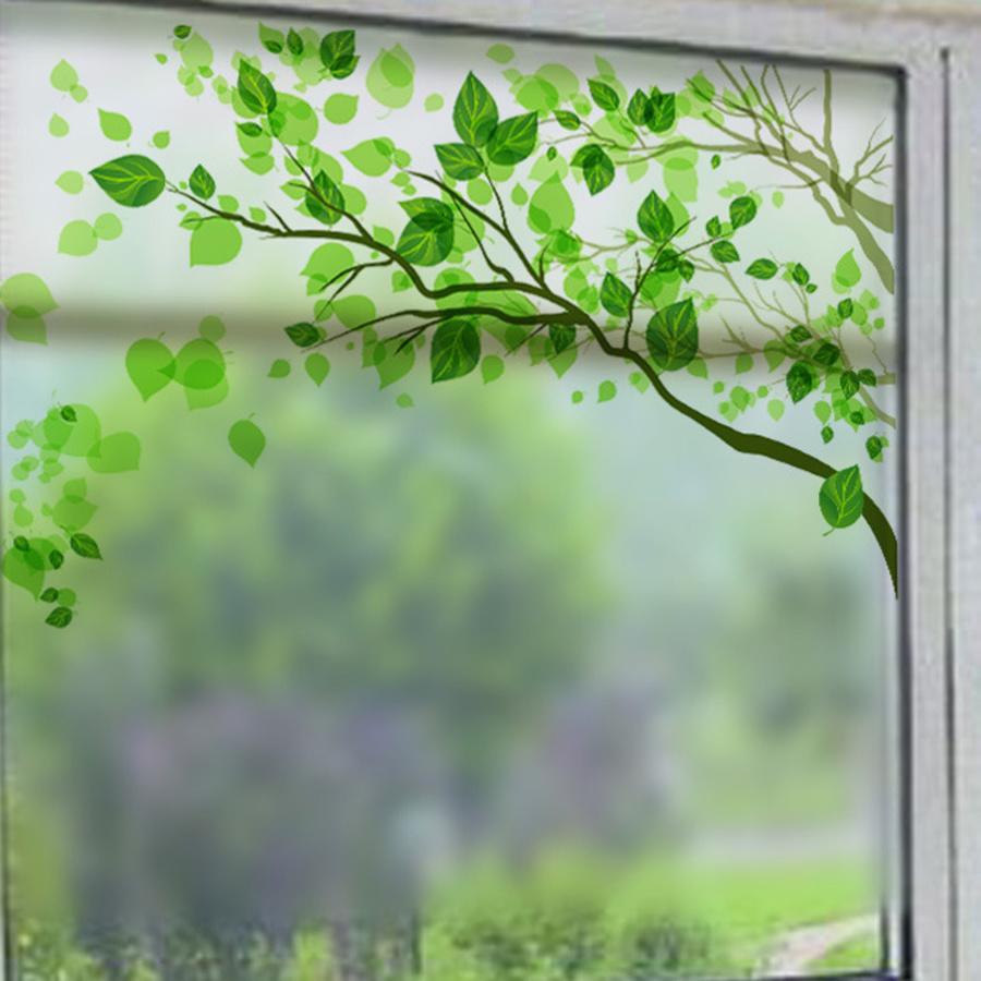 Decal dán kính cành cây xanh 2
