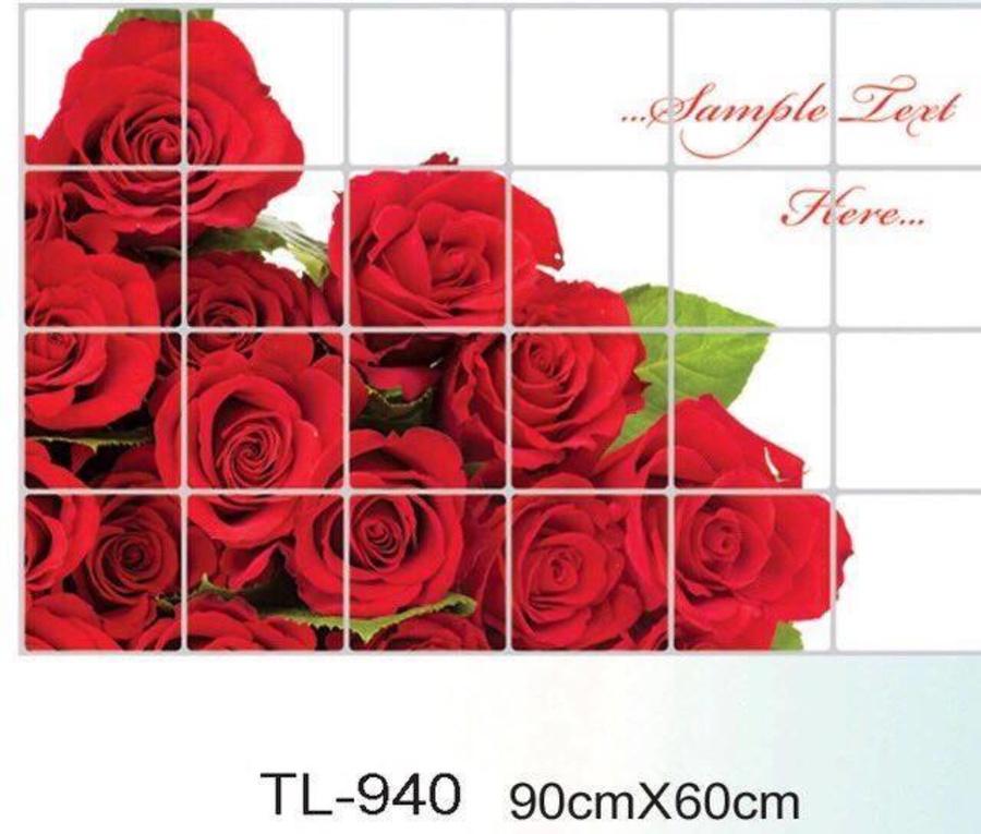 Dán bếp bó hoa hồng đỏ size 60x90cm