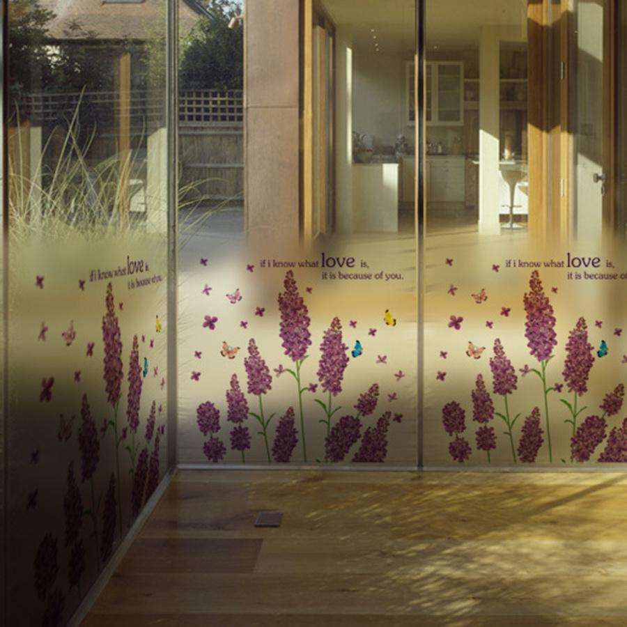 Decal dán kính hoa lavender tím