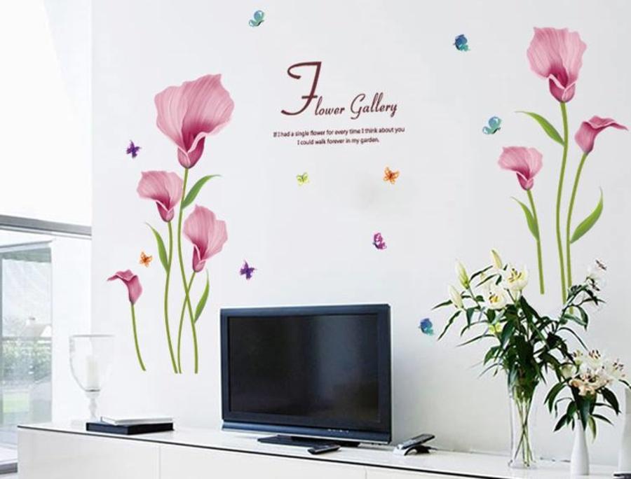 Decal dán tường hoa loa kèn hồng 02