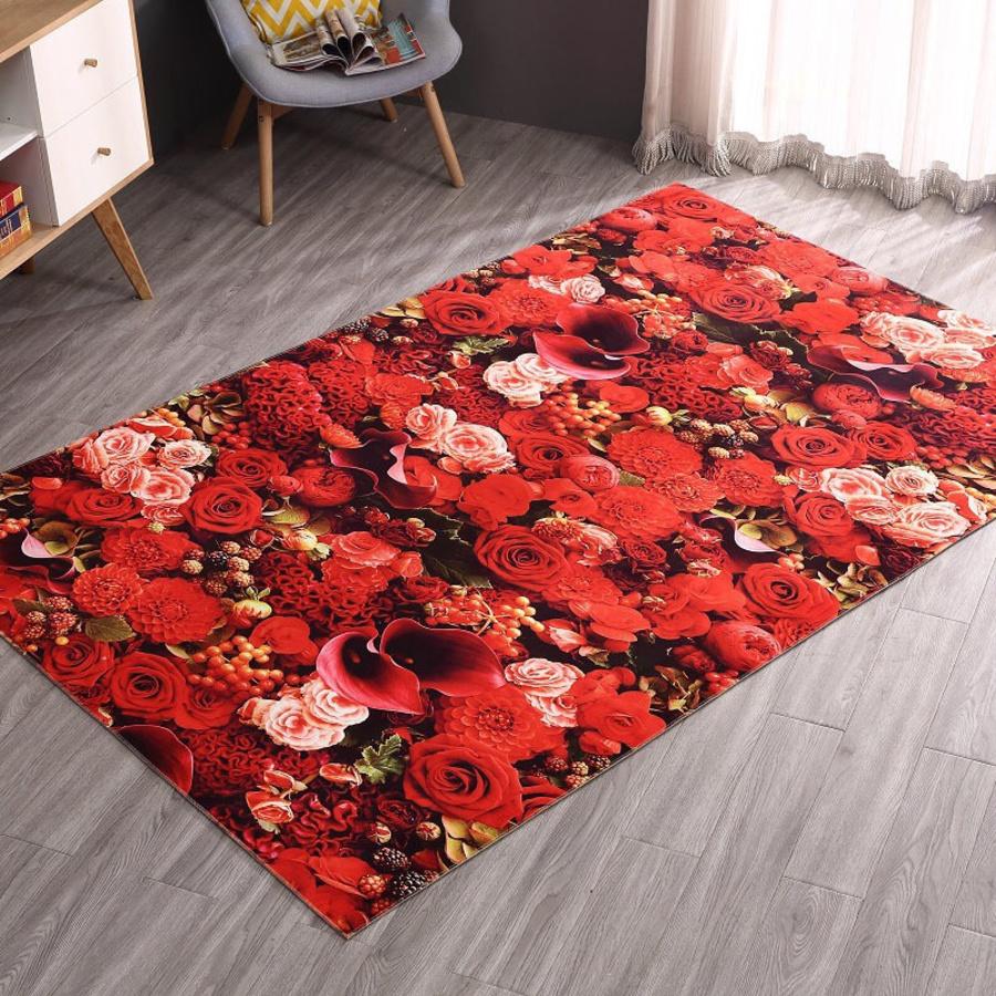 Thảm nhung rừng hoa đỏ 50x80cm