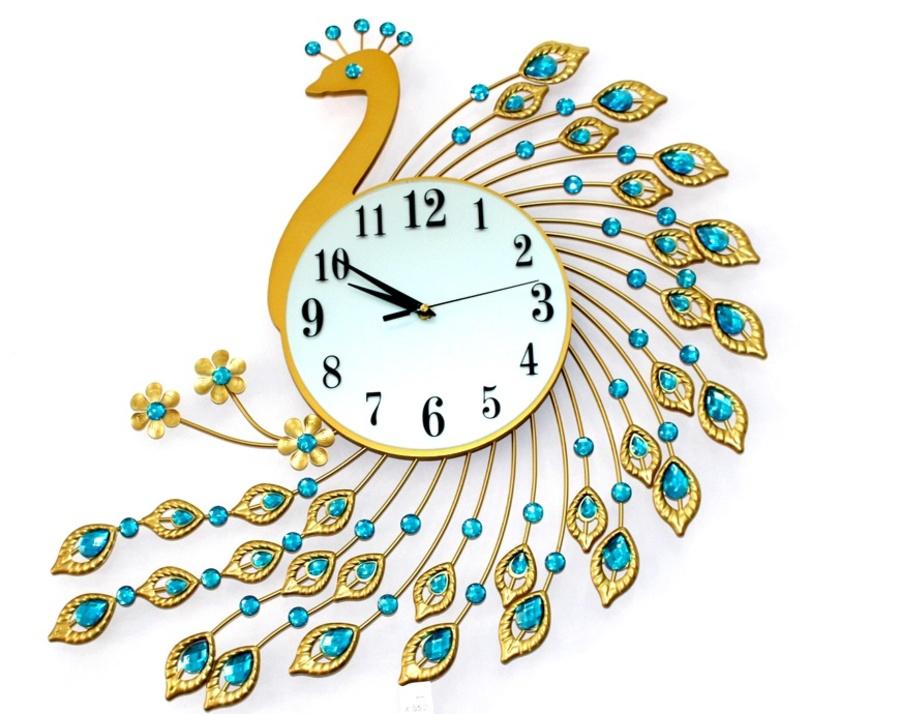 Đồng hồ treo tường chim công khoe sắc