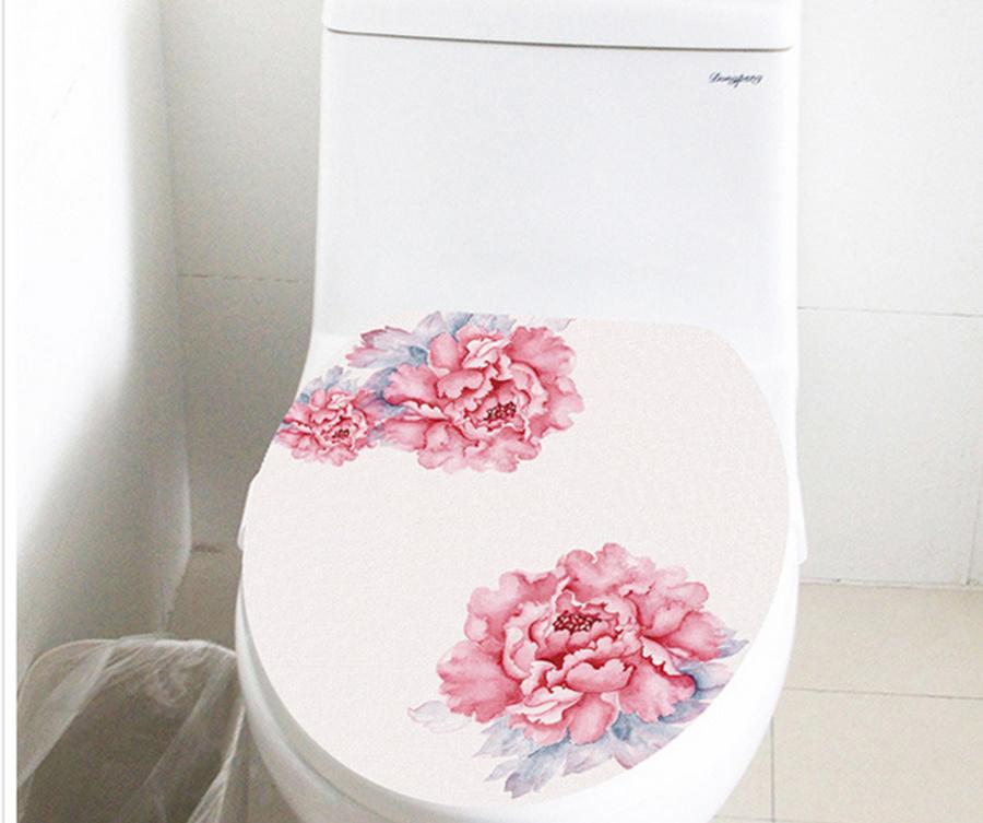 Dán toilet hoa mẫu đơn