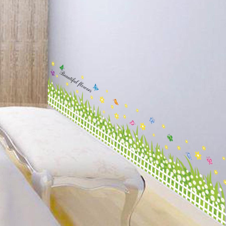 Chân tường hàng rào hoa cúc trắng