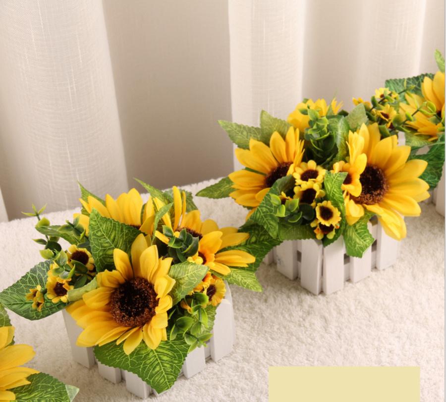 Chậu hàng rào hoa hướng dương