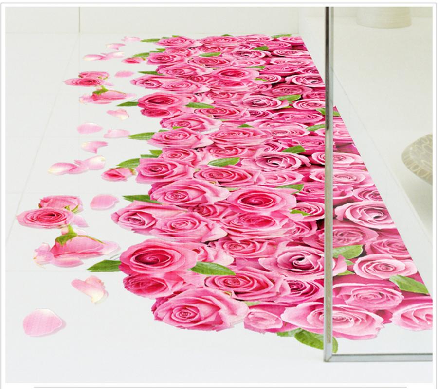 Decal 3D dán tường Thảm hoa hồng
