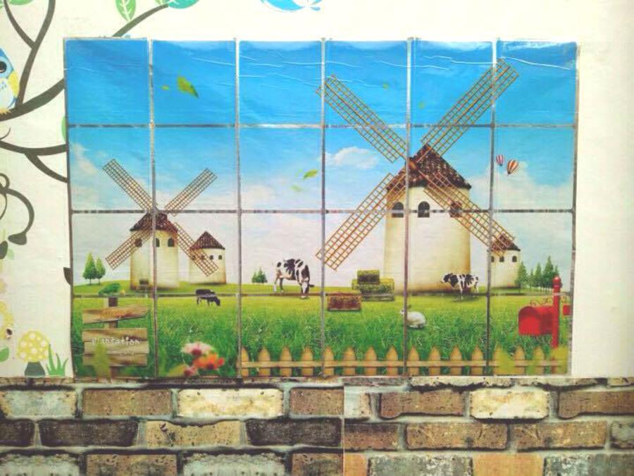 Dán bếp cánh đồng cối xay gió size 60x90cm
