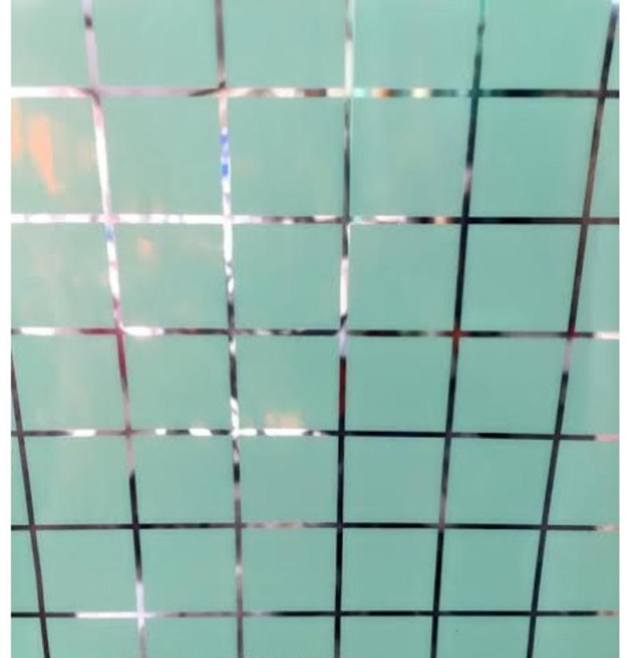 Decal cuộn kính mờ ô vuông xanh khổ 1m