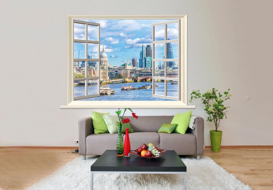 Tranh dán tường cửa sổ thành phố biển 4