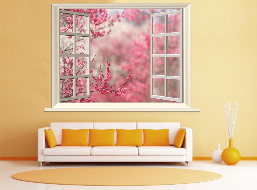 Tranh dán tường cửa sổ hoa đào hồng