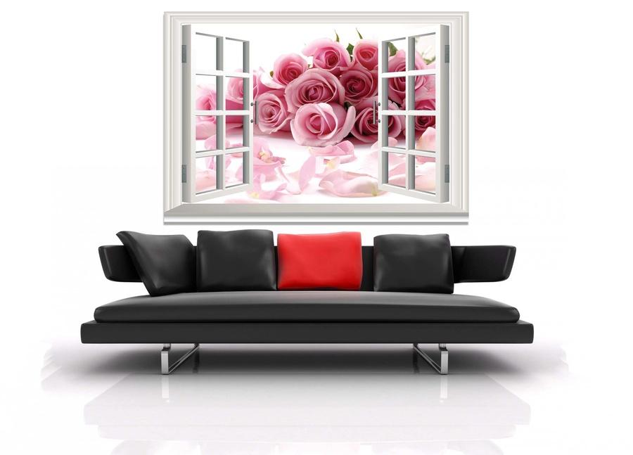 Tranh dán tường cửa sổ hoa hồng