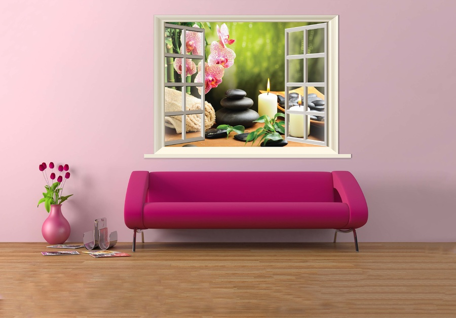 Tranh dán tường cửa sổ spa