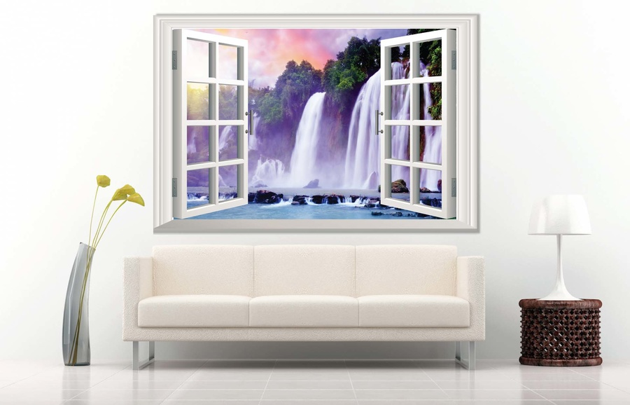 Tranh dán tường cửa sổ thác nước 4