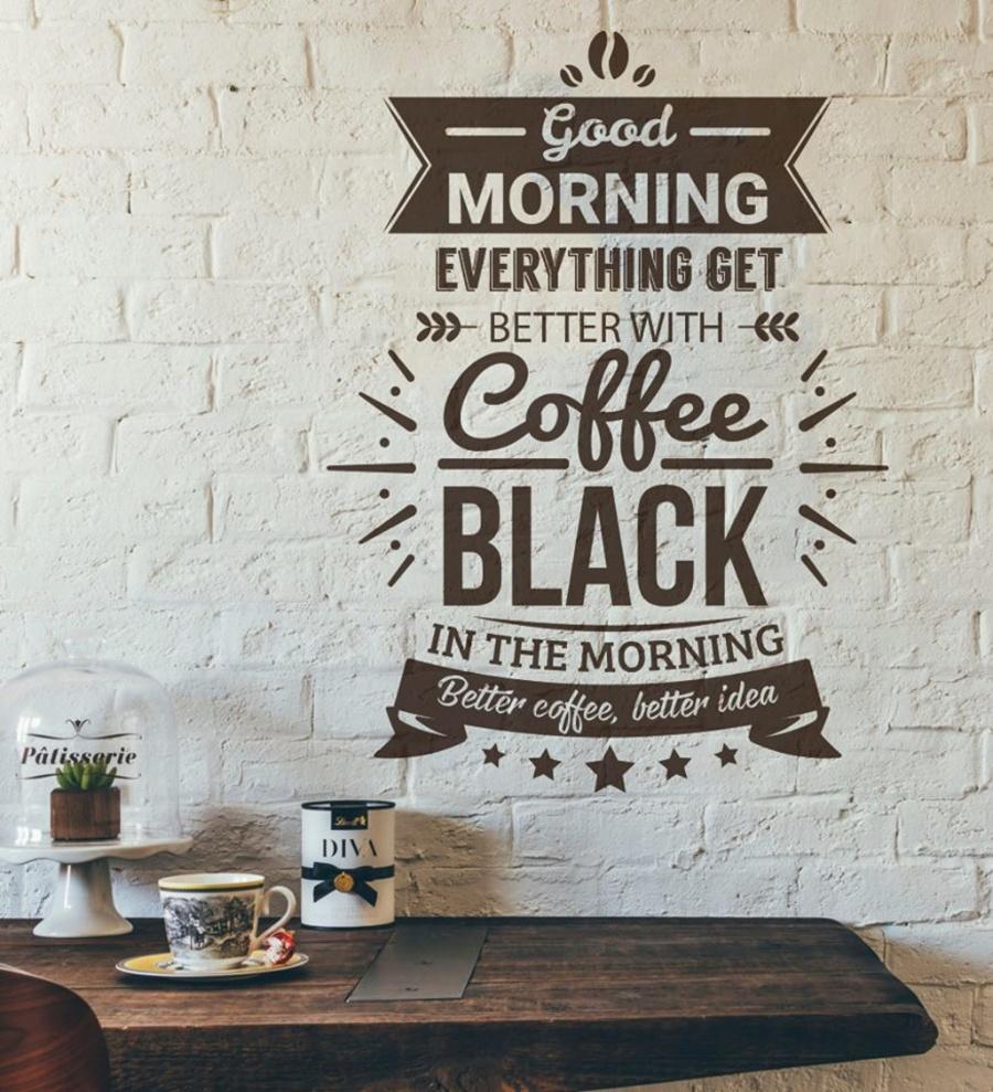 Decal dán tường coffee black.