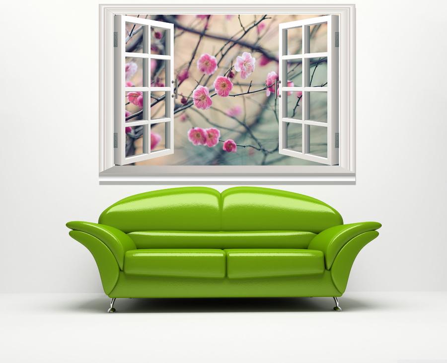 Tranh cửa sổ hoa đào hồng 2