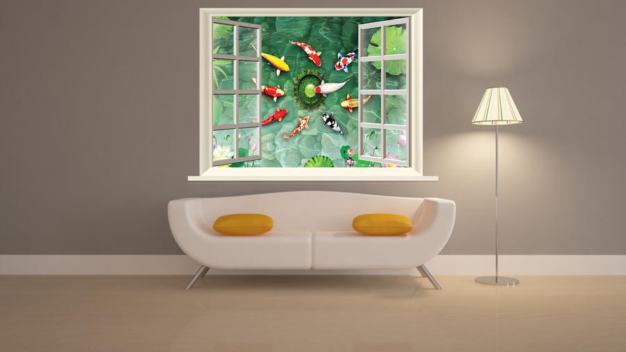 Tranh dán tường cửa sổ cửu ngư quần hội