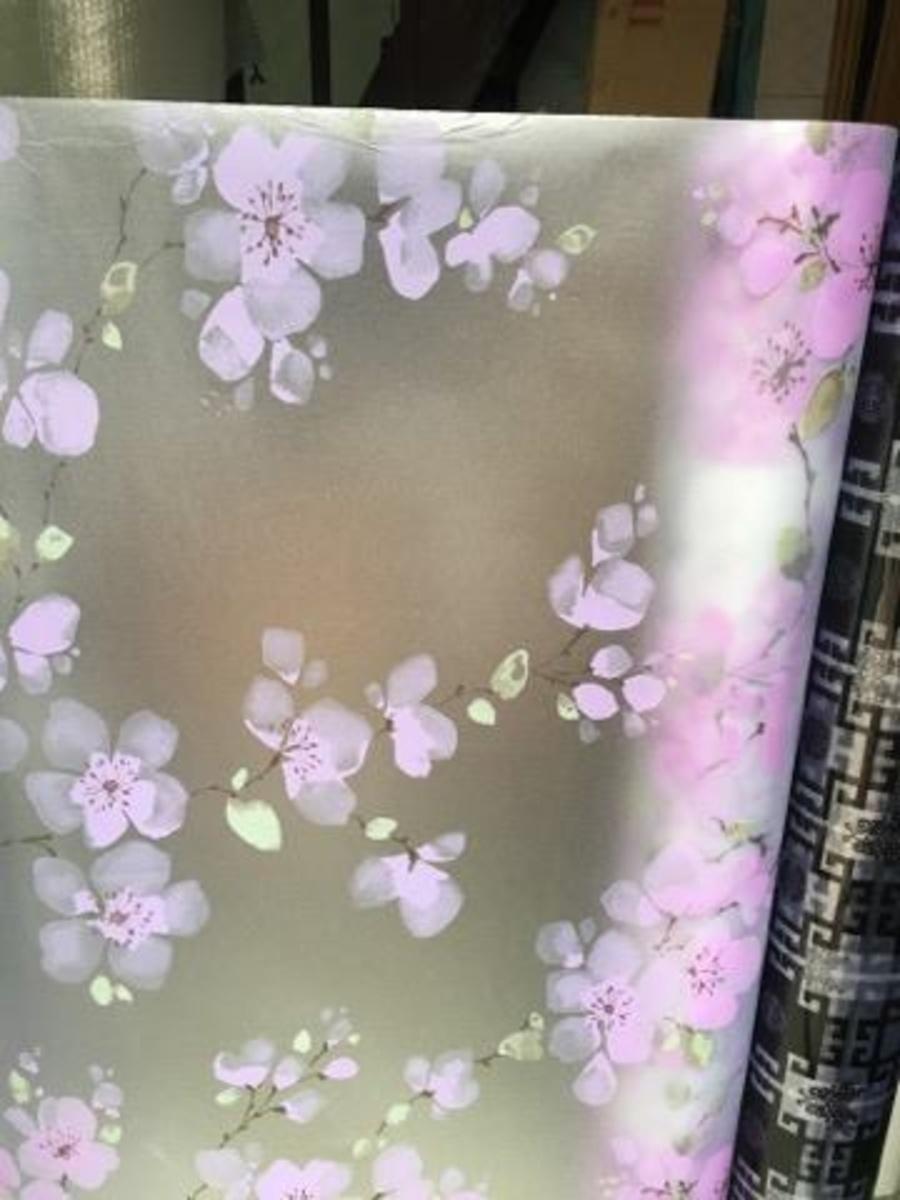 Decal cuộn kính mờ hoa 5 cánh tím 2 khổi 0.9cm