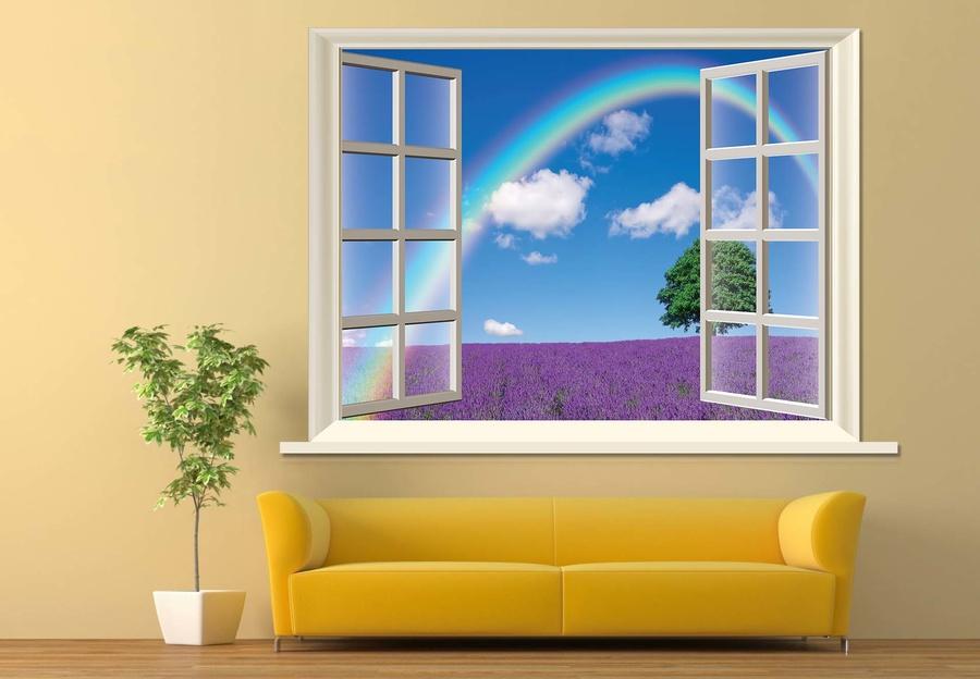 Tranh dán tường cửa sổ cầu vồng