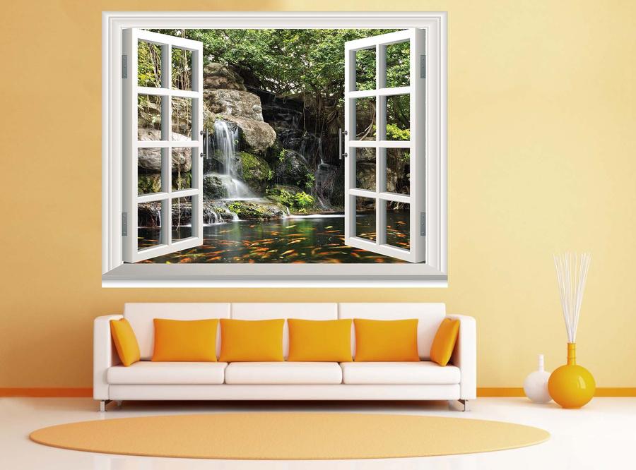 Tranh dán tường cửa sổ thác nước 5