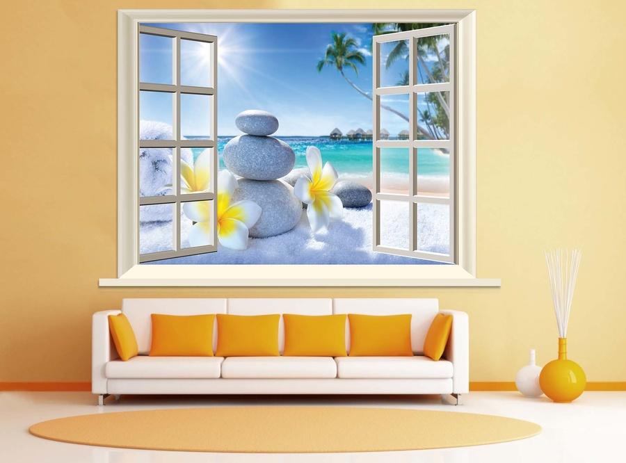 Tranh dán tường phong cảnh biển cửa sổ 3D Spa 2