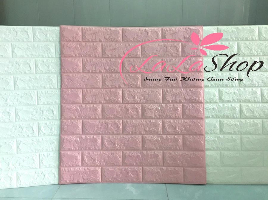 Xốp đá dán tường 3D màu hồng phấn