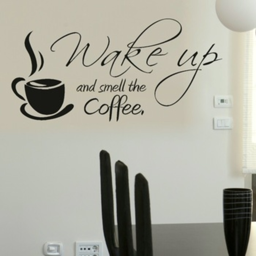 Decal dán tường wake up coffee