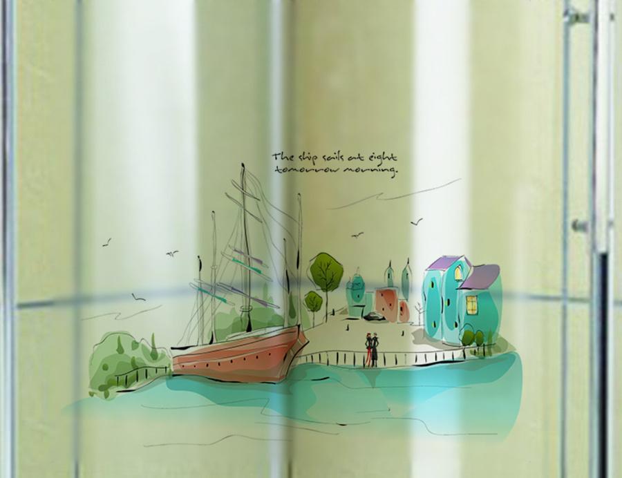 Decal kính mờ chuyến tàu cổ tích
