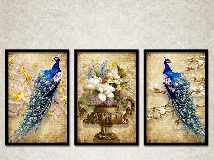Tranh treo tường nghệ thuật chim công khoe sắc 5