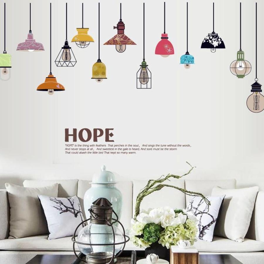 Decal dán tường Chùm đèn đủ màu 3