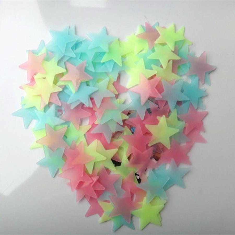 Sao dạ quang  (3cm) bộ 100 cái đủ màu