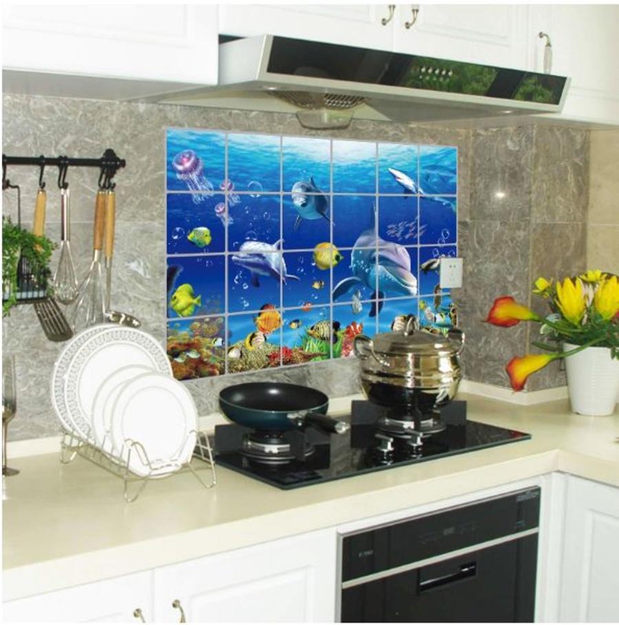 Dán bếp cá heo xanh 2 size 60x90cm