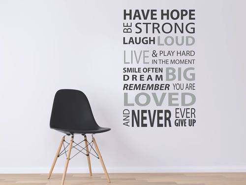 Decal văn phòng have hope be strong